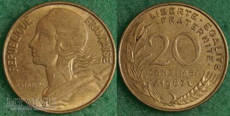 Francja, 20 centimes 1967