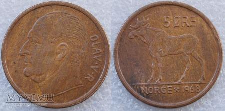 Norwegia, 5 Øre 1968