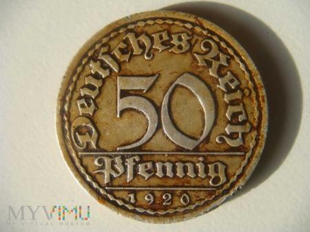 50 pfennig 1920 - Republika Weimarska
