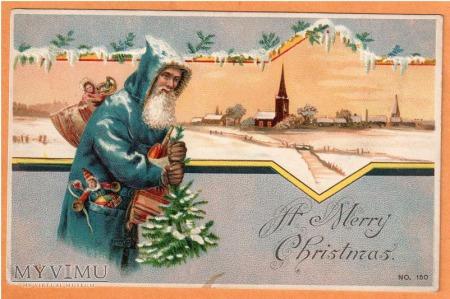 Święty Mikołaj w niebieskiim kożuchu.