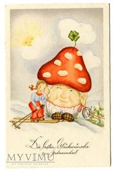 Muchomor i narciarka na Nowy Rok pocztówka