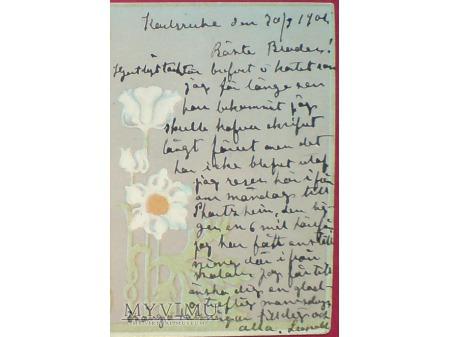 1901 SECESJA dama z kieliszkiem wina Styl: Mucha