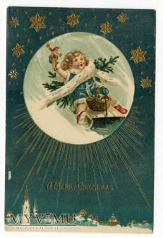 c 1910 Wesołych Świąt Dziecko na sankach