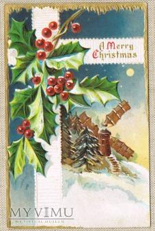 Wesołych Świąt ostrokrzew wiatrak