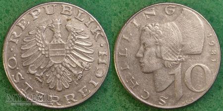 Austria, 10 schilling 1981
