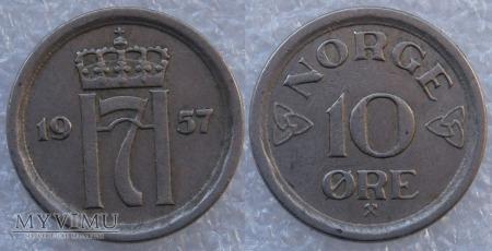 Norwegia, 10 Øre 1957