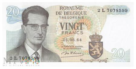 Duże zdjęcie Belgia - 20 franków (1964)