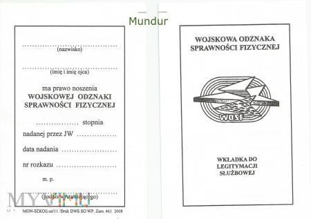 Odznaka: WOSF - legitymacja