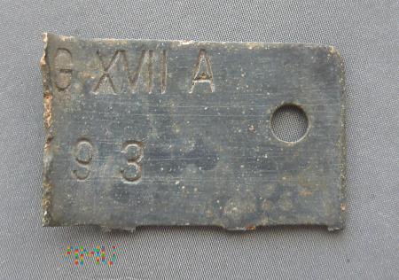 Duże zdjęcie Ćwiartka nieśmiertelnika jenieckiego Stalag XVII A