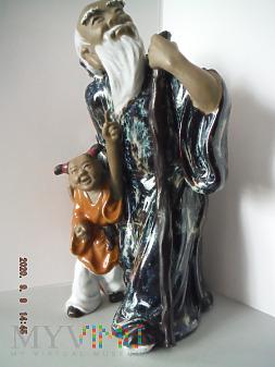 Stary chińczyk z dzieckiem