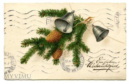 1937 Życzenia Świąteczne z szyszkami i dzwonki