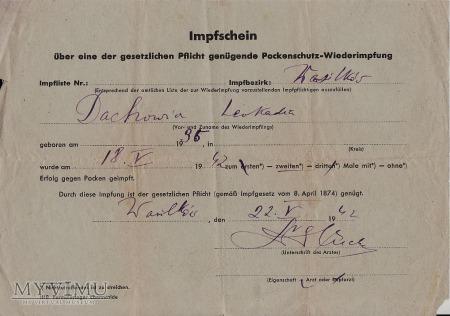 Zaświadczenie-Wasilków 1942.