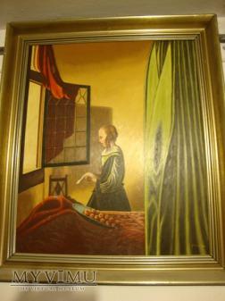 Dziewczyna czytająca list kopia obrazu Vermeera