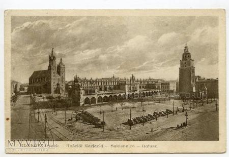 Kraków - Rynek - Kościół Mariacki Sukiennice 1930
