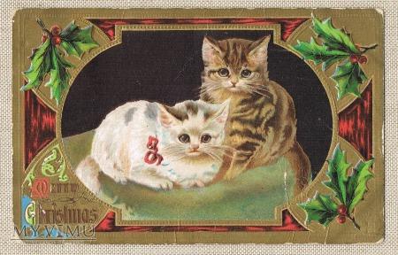 1908 Wesołych Świąt dwa kotki