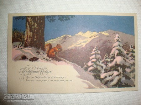 1935 kartka świąteczna wiewiórka