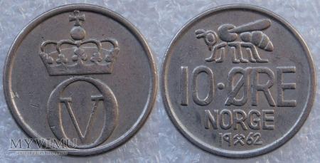Norwegia, 10 Øre 1962