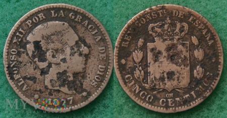 Hiszpania, 1877, 10 centów