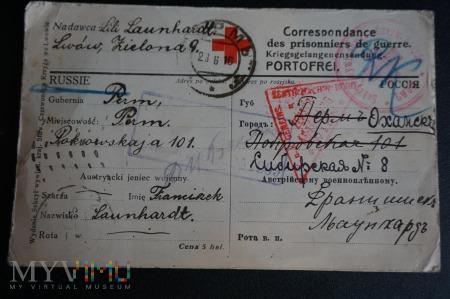 Karta pocztowa - wysłana do jeńca wojennego