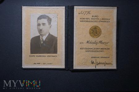Legitymacja do Medalu Niepodległości