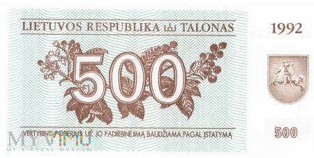 Litwa - 500 talonów (1992)