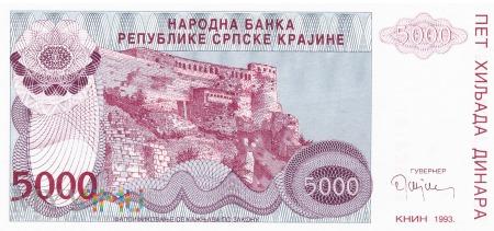 Chorwacja - 5 000 dinarów (1993)