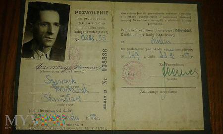 Duże zdjęcie Prawko na motor z 1955 r.