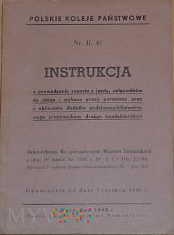 R41-1948 Instrukcja o raporcie z jazdy i wykazie