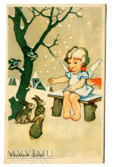 Duże zdjęcie 1949 Wesołych Świąt Anioł na Święta