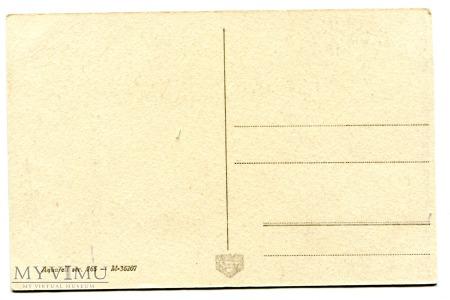 Powojenna kartka Krasnale szyszki muchomorek
