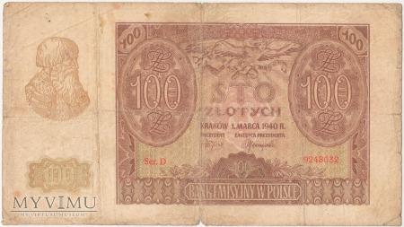 100 złotych 1 marca 1940 rok Ser. D