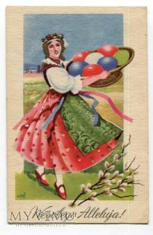1948 Wesołego Alleluja dziewczyna z pisankami