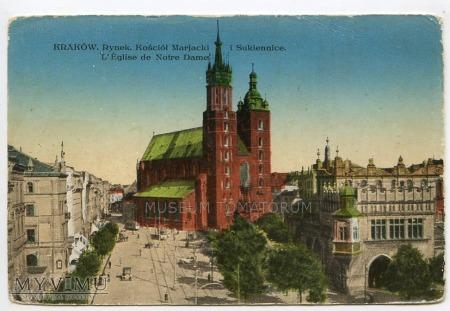 Kraków - Rynek - Kościół Mariacki - 1927a