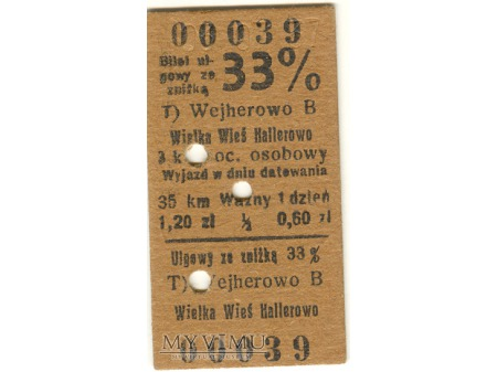 Bilet - 1937 rok