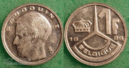 Belgia, 1 Franc 1989