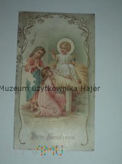 Duże zdjęcie Stary święty obrazek BOŻE NARODZENIE