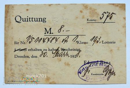 Quittung Drezno 1928