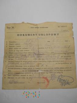 Dokument Urlopowy 65 Pułku Piechoty