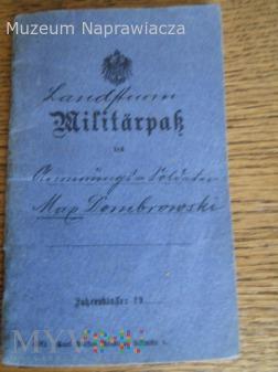 Militarpass 1916 z powojennym polskim wpisem