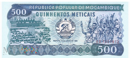 Mozambik - 500 meticali (1986)