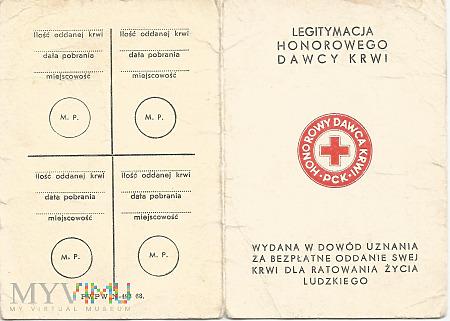 Duże zdjęcie B.Nowakowski - legitymacja honorowego dawcy krwi
