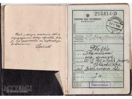 Książeczka oszcędnościowa z 1935.