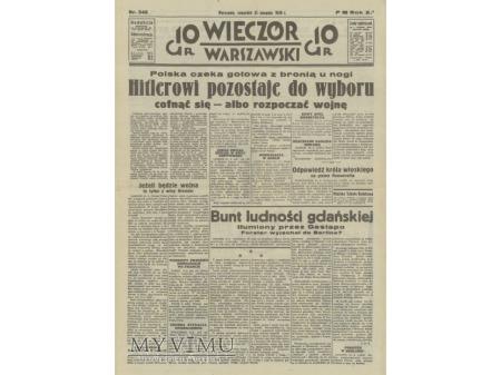 Wieczór Warszawski 31 sierpnia 1939 rok.