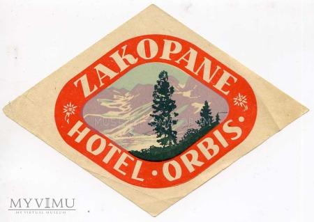 Duże zdjęcie Nalepka hotelowa - Zakopane - Hotel Orbis