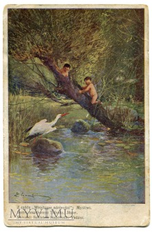 Edmund Cieczkiewicz Bocian w lesie pocztówka