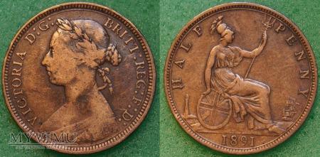 Wielka Brytania, half penny 1891