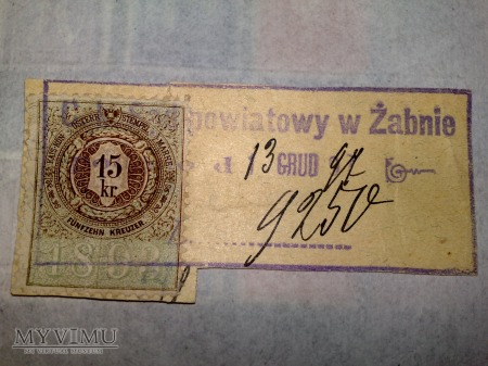 Opłata urzędowa Austro-Węgier 1893r. 15 Krajcar