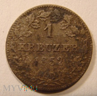 Duże zdjęcie 1 KREUZER (srebrny) 1852 Królestwo Wirtembergii