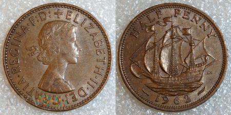 Wielka Brytania, half penny 1962