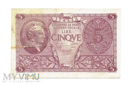Duże zdjęcie Włochy - 5 lire, 1944r.